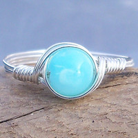Blue Peruvian Opal Ring,  Argentium Sterling Silver Ring,  Wire Wrapped Gemstone Ring