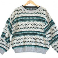 Shop Now! Ugly Sweaters: Teal & White Acrylic Tacky Ugly Ski Sweater Men's Size XL $20 - The Ugly Sweater Shop