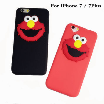 3D Cartoon Phone Case For iPhone 7 7Plus Soft TPU Silicone Skin Rubber Ultrathin Protect Mobile Phone Couple Phone Bag Shell