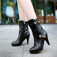 Buckle Platform Boots High Heels Shoes 8253