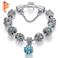 2016 New Arrivals Wedding Jewelry European charm bracelets & Bangles silver plated with glass bead bracelets for women ps3603