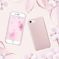 iPhone 8 Case, iPhone 7 Case, SURPHY Liquid Silicone Slim Fit Rubber Shockproof Protective Phone Case with Soft Microfiber Lining for Apple iPhone 8 (2017) / iPhone 7 (2016) 4.7 inches, Pink Sand