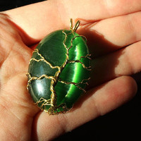 Green Cat's Eye Tree of Life wire-wrapped pendant
