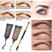 2pcs Waterproof Pigments Black Brown Henna Eyebrow Gel Tint Long Lasting Eye Brow Tattoo Cream Eyebrows Enhancer Kits with Brush