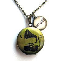 Gramophone Record Player Locket with Music Word Mini Pendant Library Necklace