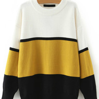 Yellow Black and White Stripe Sweater