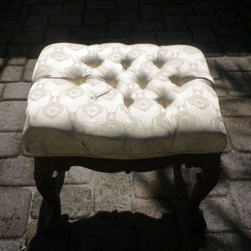 Vintage Vanity Stool Ottoman Carved Wood Victorian Tufted Chair Seat Brocade Claw Feet Antique Ornate Old World Furniture Restoration Relief