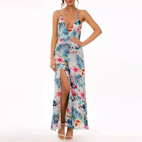 Floral Print Sleeveless V-Neck with High Side Slit Maxi Dress