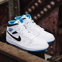 """Air Jordan 1 Mid """"Laser Blue"""" mid-top all-match casual sports shoes"""