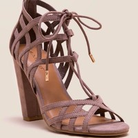 Jilly strappy lace-up block heel