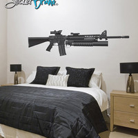 Graphic Wall Decal Sticker M16 Military Weapon Gun #JH203