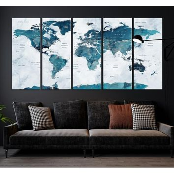 Turquoise Abstract World Map Large Wall Art Canvas Print