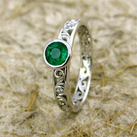 Hand Built Dark Green Emerald Engagement Ring in 14K White Gold with Diamond Accents and Scrolls