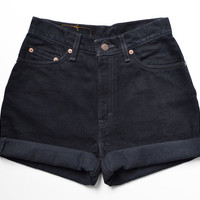 ALL SIZES Vintage Levis High Waisted Cuffed Black Denim Shorts