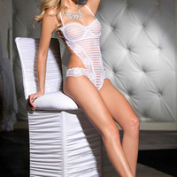 White Striped Floral Sheer Lace Teddy Lingerie