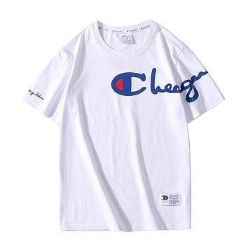Champion new style chest logo print fashion men's and women's round neck top sports short-sleeved pure cotton T-shirt