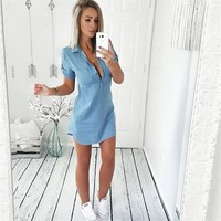 Stylish Women dress Ladies Short Sleeve Loose Summer turn-down collar Button solid Denim Casual dresses one pieces