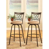Bronze Finish Scroll Back Adjustable Metal Swivel Counter Height Bar Stools (Set of 2) - 13492263 - Overstock.com Shopping - Great Deals on Bar Stools
