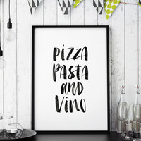 'Pizza Pasta And Vino' Watercolour Typography Print
