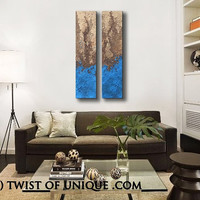 abstract Painting,  Original Abstract painting, 2 panel Large abstract wall art, abstract home wall decor- Blue, brown, tan