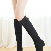 Women Over the Knee Boots Elastic Artificial Suede Shoes Woman 3366