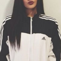 "Fashion ""Adidas"" Zipper Cardigan Sweatshirt Jacket Coat Windbreaker Sportswear"