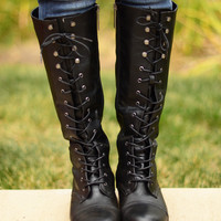 Laced Up Boots - Black