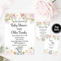 Elephant Baby Shower Party Printable, Watercolor Floral Baby Shower Party Invitation, Girl Baby Shower Party Invitation Printable, Invite