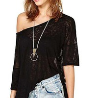HDY Haoduoyi Slash Neck Solid Black Women Top Sexy Backless Semi-sheer T-Shirt Casual Hollow Out Spilt Tee One Shoulder Tee
