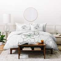 Wesley Bird Eye See Hamsa Duvet Cover