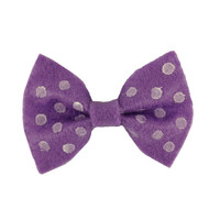 Purple Hand Dotted Polka Dot Hair Bow Brilliant Color