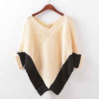 Patchwork Knit Winter Batwing Sleeve V-neck Pullover Plus Size Sweater [9067783108]
