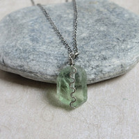 Green Fluorite Sterling Silver Necklace, Rough Fluorite Pendant, Sterling Silver Chain, Chakra Gemstones Jewelry