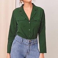 Green Polka Dot Notched Neck Button Spring Belted Blouse Women  Long Sleeve Office Lady Elegant Blouse Shirts