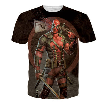 2016 New Fashion Funny 3D American Comic Badass Deadpool T-Shirt Tees For Men Cartoon Characters t shirt Casual tee shirts tops