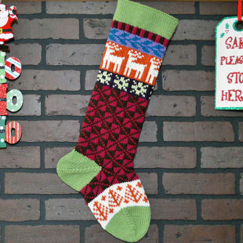 Christmas Stocking, Hand Knit in Fern Green, Fair Isle Knit Stocking with White Reindeer and Pumpkin Orange Trees, can be personalized, gift