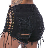 Sexy Lace Up Hollow out Shorts 2017 Summer Style Women High Waist Drawstring Hole Ribbons Closure Short Pants Black Denim Shorts