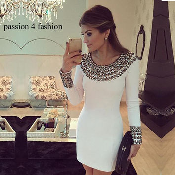 2016 New autumn and winter  long sleeve hand-beaded dress Slim bodycon dress white color package hip bottoming dress