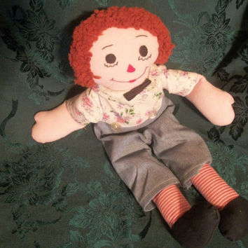 """1970's 19"""" Handmade Raggedy Andy Doll - a  Vintage Collectable"""