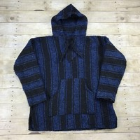 Vintage 90s Baja Poncho Drug Rug Hooded Sweatshirt Mens Size Medium