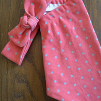 Red and Silver Dot Legging and Top Knot Headband in Organic Cotton for Babies and Kids