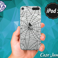Spider Web Black Pattern Spooky Halloween Inspired Scary New Rubber Transparent Clear Case For iPod Touch 5th Generation iPod Touch 6th Gen