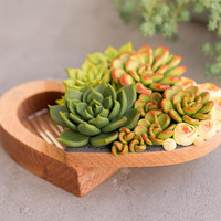 Large Green Red Succulent Jewelry Ring Box Wholesale Wooden Round Decorated Ring Holder Case Wedding Bridal Birthday Home Decor Decoration