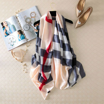 Plaid High Quality Foulard Silk Plaid Wrap Shawl