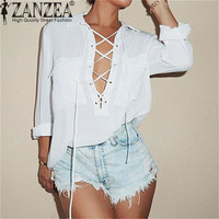 ZANZEA Spring Autumn Lace Up Sexy Women Blouse Fashion Lapel Long Sleeve Solid Chiffon Shirts Female Casual Loose Top Plus Size