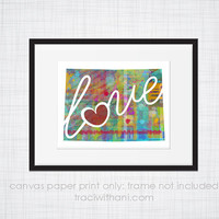 Colorado Love - CO Canvas Paper Print:  Grunge, Watercolor, Rustic, Whimsical, Colorful, Digital, Silhouette, Heart, State, United States
