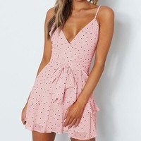 Polka Dot Pink Dress Women Ruffles Chiffhon Beach Dresses Spaghetti Strap Sexy Mini Dress