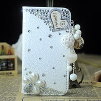 1PC Bling Crystal Leather Wallet w/Dangling Heart Charm iPhone 4s,4g iPhone 5,5s,5C Cell Phone Case Cover