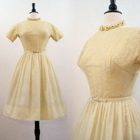 50s Dress Vintage Embroidered Yellow  Full Skirt Day Dress S
