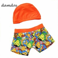 2018 Boy Swimsuit Swimming Cap Spiderman Swimwear Children's Swimming Trunks Boys Briefs Baby Bathing Suits 2T-12T with Cap